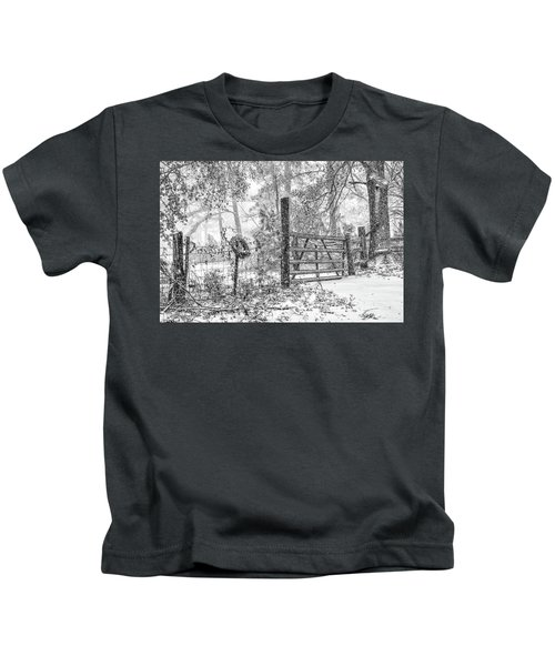 Snowy Cattle Gate Kids T-Shirt
