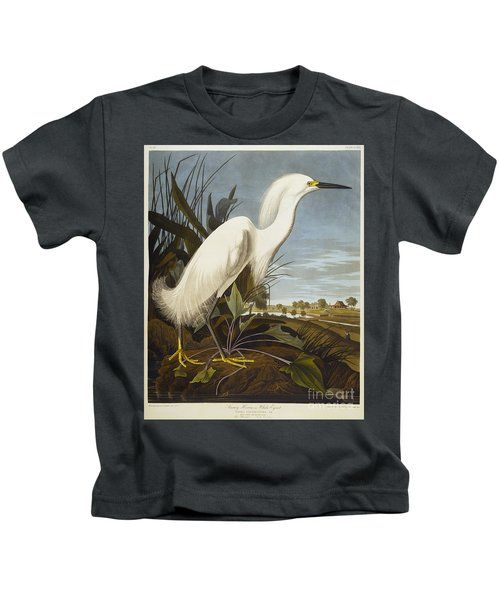 Snowy Heron Kids T-Shirt