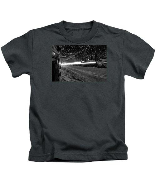 Snowy Night Light Trails Kids T-Shirt