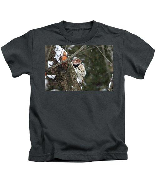 Snowy Northern Flicker Kids T-Shirt