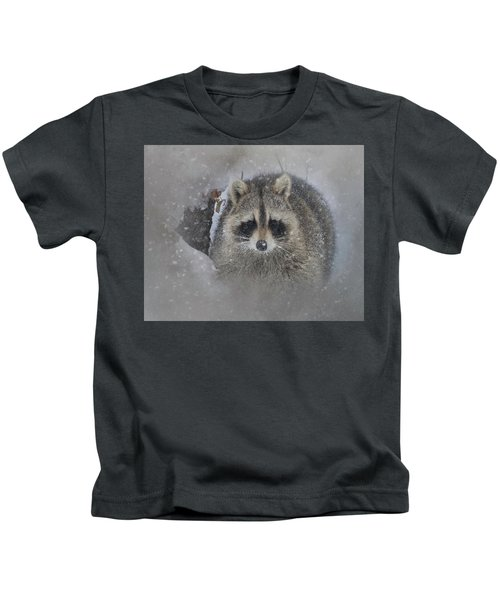Snowy Raccoon Kids T-Shirt
