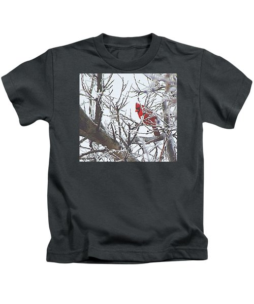 Snowy Red Bird A Cardinal In Winter Kids T-Shirt