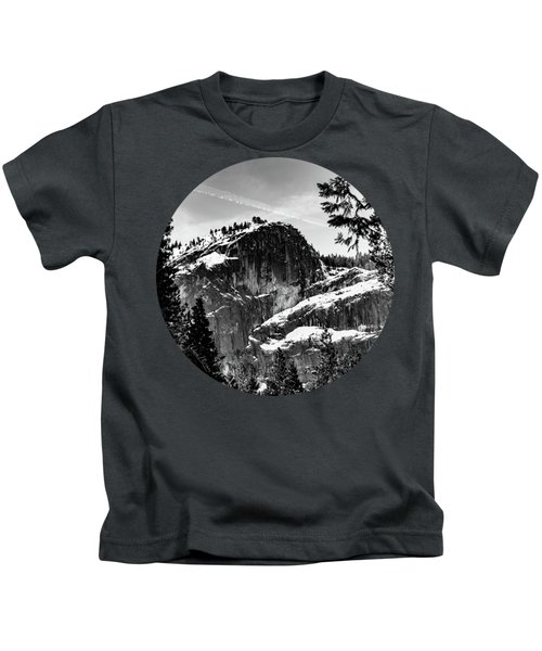 Snowy Sentinel, Black And White Kids T-Shirt