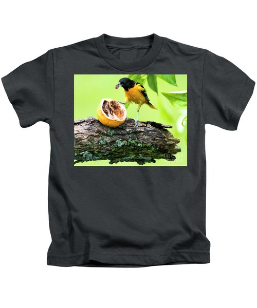 Soaking Wet Baltimore Oriole At The Feeder Kids T-Shirt