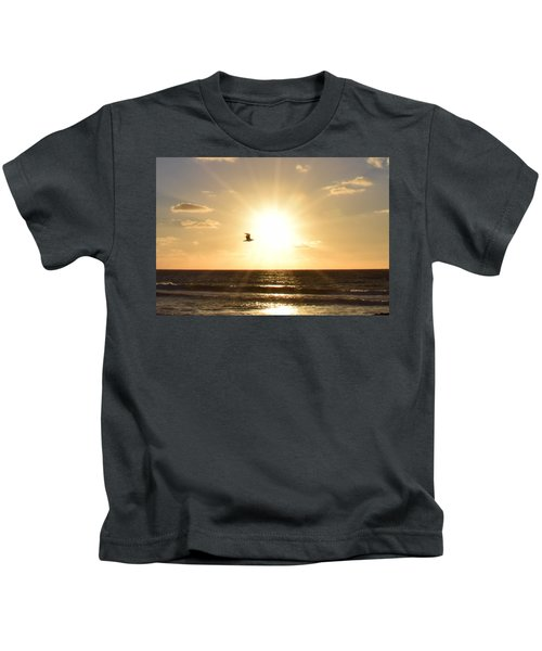 Soaring Seagull Sunset Over Imperial Beach Kids T-Shirt