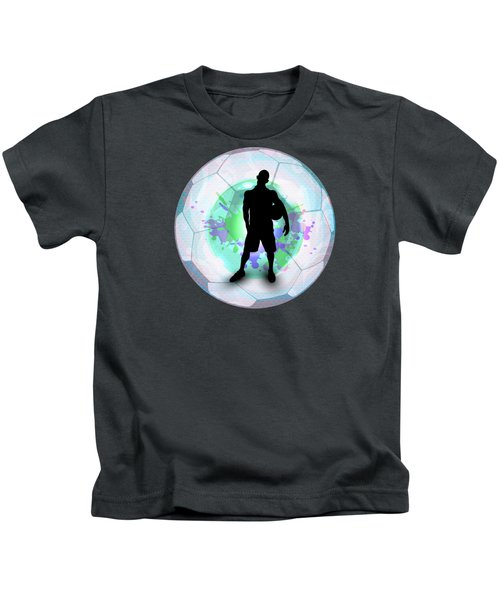 Soccer Player Posing With Ball Soccer Background Kids T-Shirt by Elaine Plesser