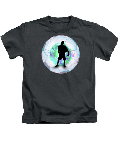 Soccer Player Posing With Ball Soccer Background Kids T-Shirt