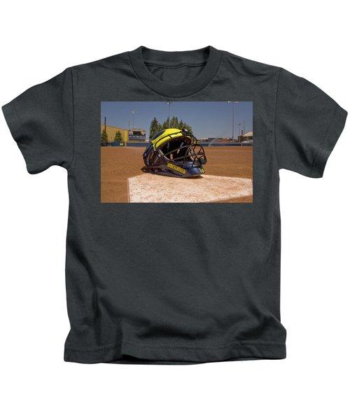 Softball Catcher Helmet Kids T-Shirt
