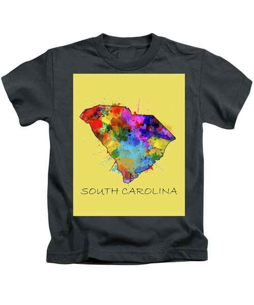 South Carolina Map Color Splatter 4 Kids T-Shirt