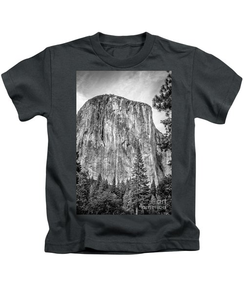 Southwest Face Of El Capitan From Yosemite Valley Kids T-Shirt