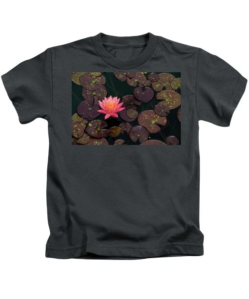 Speckled Red Lily And Pads Kids T-Shirt