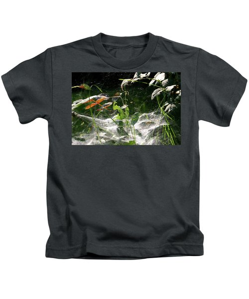 Spiderweb Over Rose Plants Kids T-Shirt