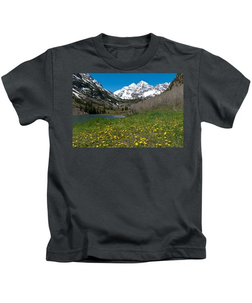 Spring At The Maroon Bells Kids T-Shirt
