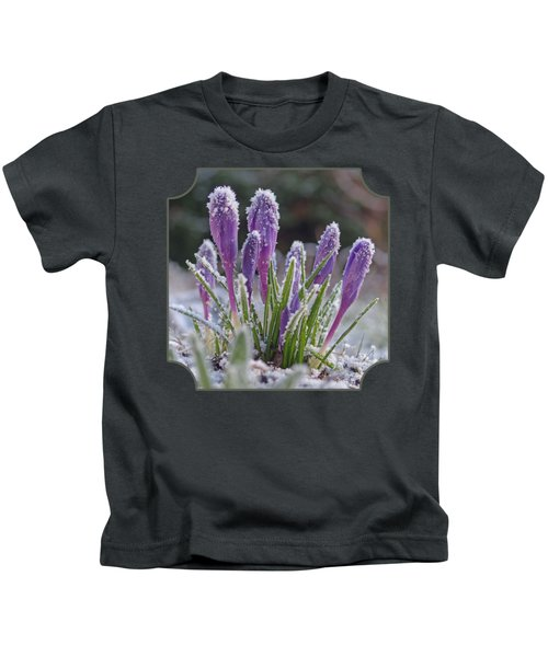 Spring Is Round The Corner -purple Crocus Kids T-Shirt