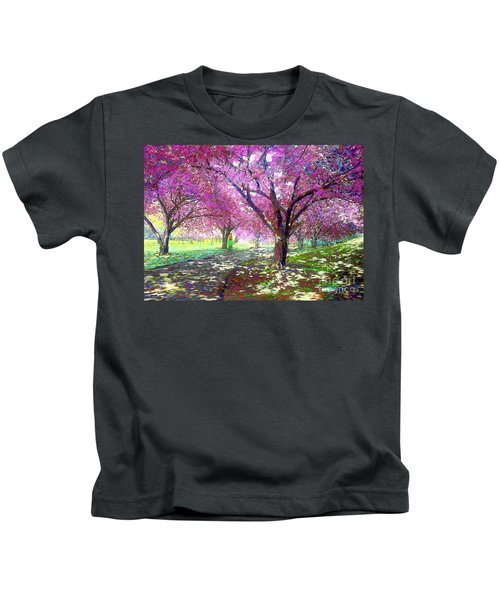 Spring Rhapsody, Happiness And Cherry Blossom Trees Kids T-Shirt