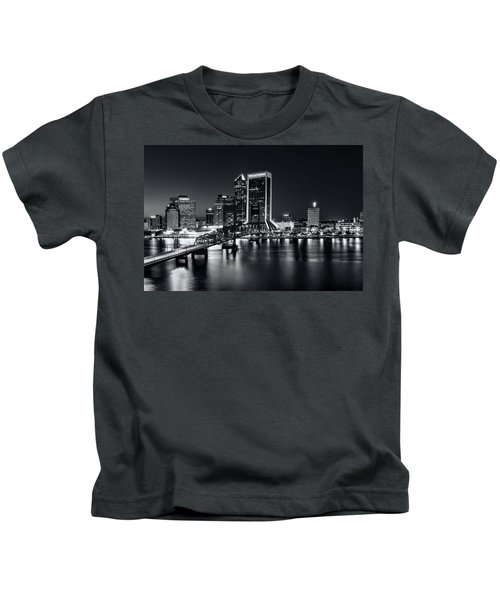 St Johns River Skyline By Night, Jacksonville, Florida In Black And White Kids T-Shirt