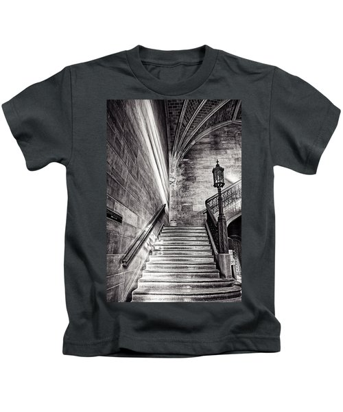 Stairs Of The Past Kids T-Shirt by CJ Schmit