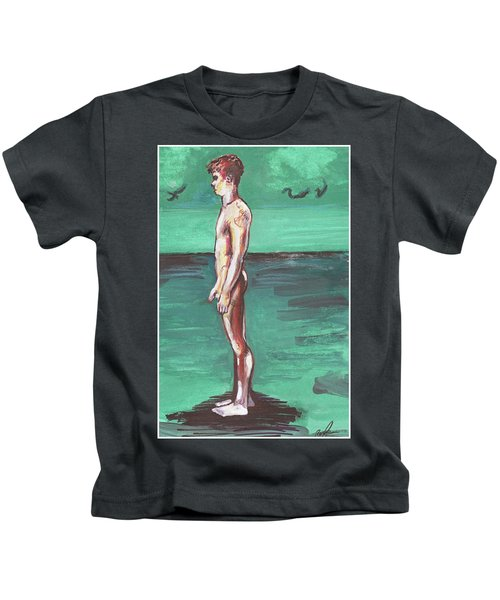 Standig On A Cold Beach With Hesitation  Kids T-Shirt