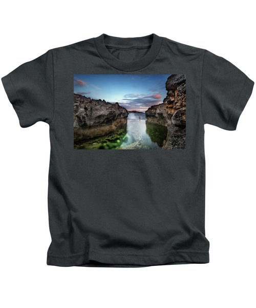 Standing At The Tip Of Sea Kids T-Shirt