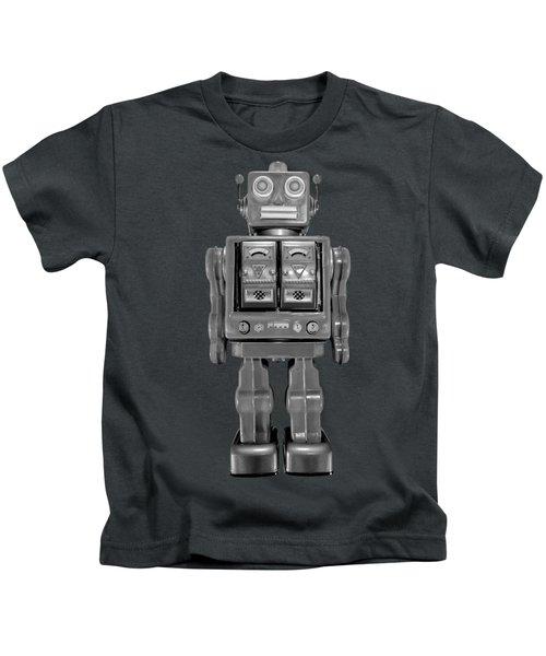 Star Strider Robot Red Bw Kids T-Shirt by YoPedro