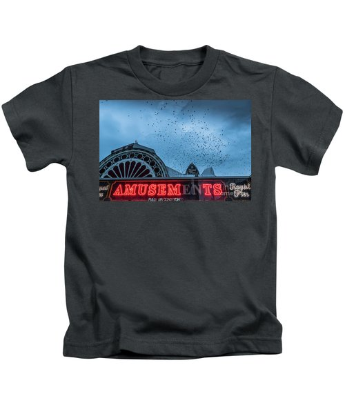 Starlings Over Aberystwyth Royal Pier Kids T-Shirt