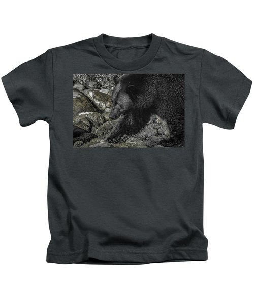 Stepping Into The Creek Black Bear Kids T-Shirt