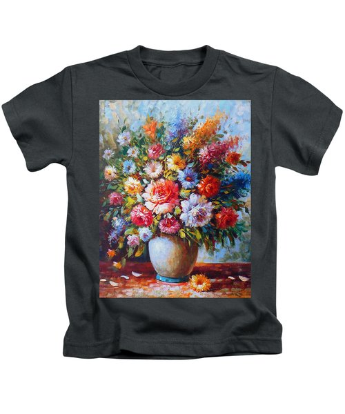 Still Life Colourful Flowers In Bloom Kids T-Shirt
