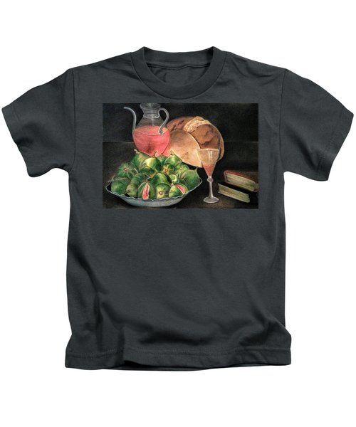 Still Life Of Figs, Wine, Bread And Books Kids T-Shirt
