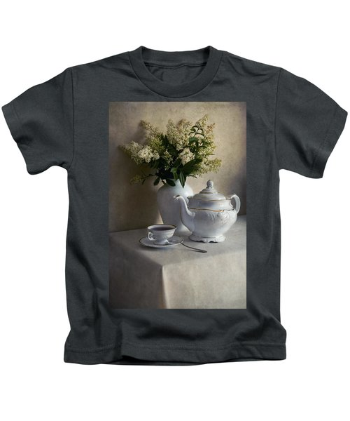 Still Life With White Tea Set And Bouquet Of White Flowers Kids T-Shirt