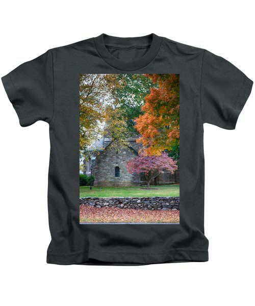 Stone Church In Pomfret Ct In Autumn Kids T-Shirt