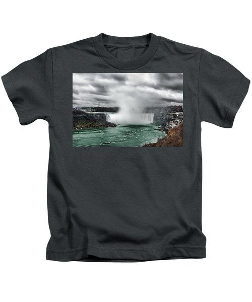 Storm At Niagara Kids T-Shirt