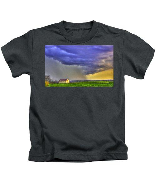 Storm Over River Kids T-Shirt