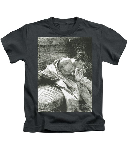 Study Of A Young Man Seated, 1895 Kids T-Shirt