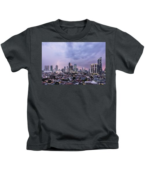Stunning Sunset Over Jakarta, Indonesia Capital City Kids T-Shirt