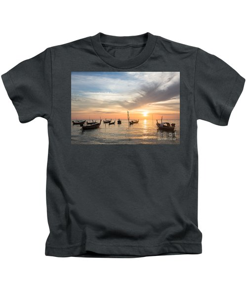Stunning Sunset Over Wooden Boats In Koh Lanta In Thailand Kids T-Shirt
