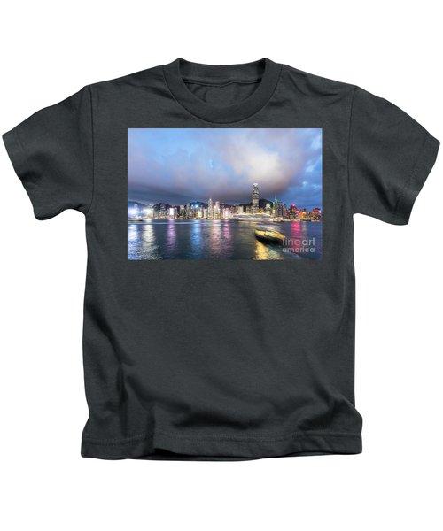 Stunning View Of Hong Kong Island At Night.  Kids T-Shirt