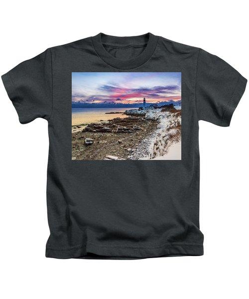 Subtle Sunrise At Portland Head Light Kids T-Shirt