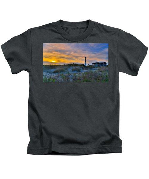 Sullivan's Island Lighthouse At Dusk - Sullivan's Island Sc Kids T-Shirt