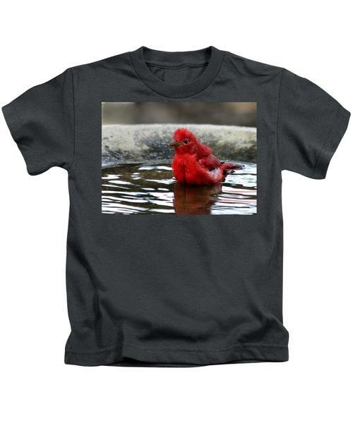 Summer Tanager In Bird Bath Kids T-Shirt