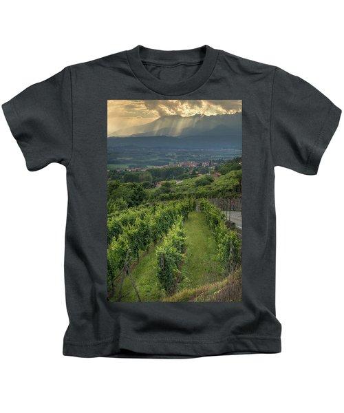 Sun Filtering Through The Clouds  Kids T-Shirt