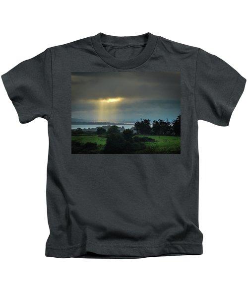 Kids T-Shirt featuring the photograph Sunbeam Spotlights Shannon Airport by James Truett