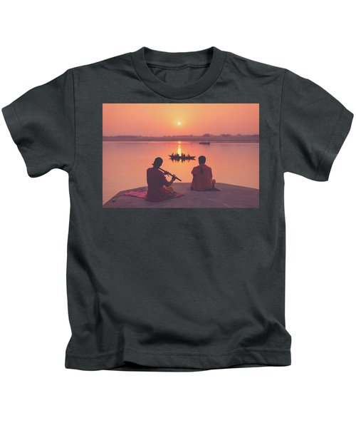 Sunrise By The Ganges Kids T-Shirt