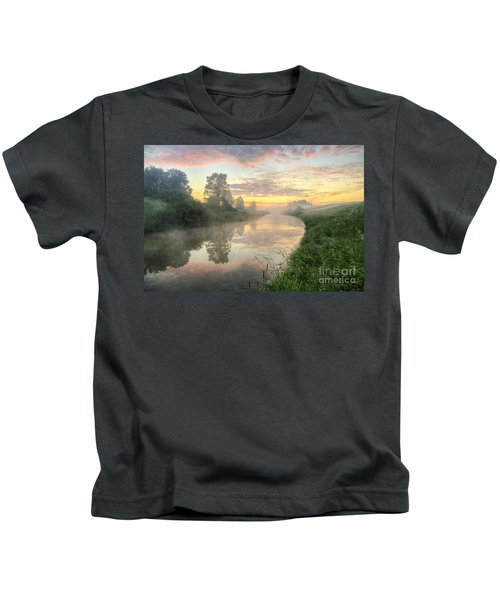 Sunrise On A Misty River Kids T-Shirt