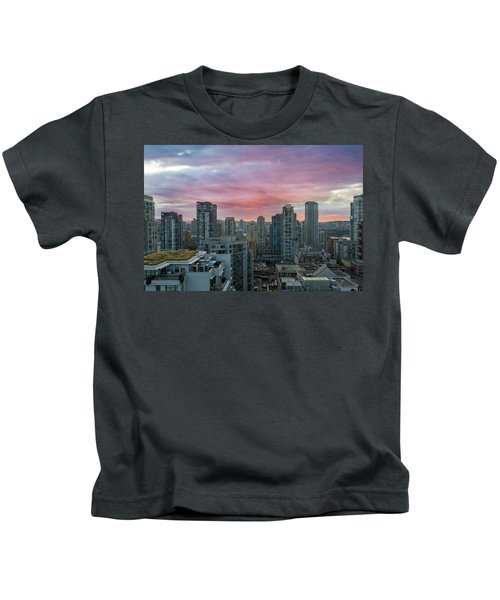Sunrise Over Downtown Vancouver Bc Kids T-Shirt