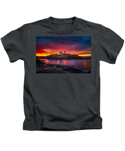 Sunrise Over Nubble Light Kids T-Shirt