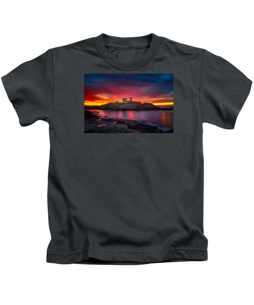 Sunrise Over Nubble Light Kids T-Shirt