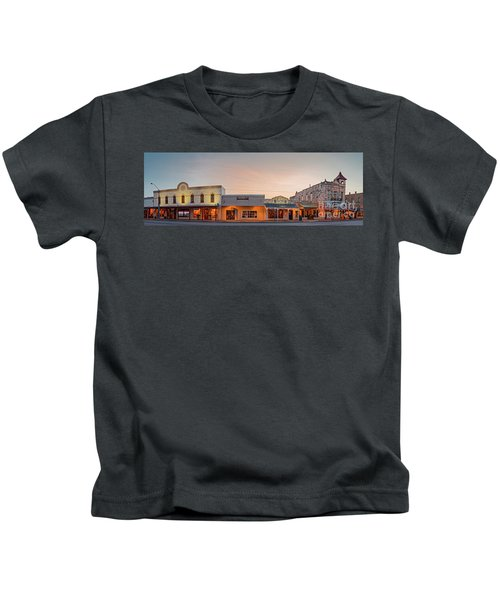 Sunrise Panorama Of Downtown Fredericksburg Historic District - Gillespie County Texas Hill Country Kids T-Shirt