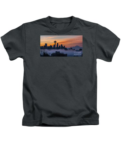 Sunrise Seattle Skyline Above The Fog Kids T-Shirt by Mike Reid