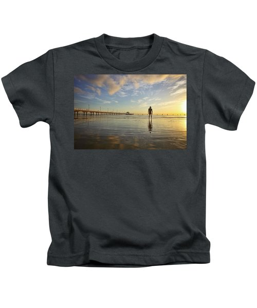 Sunrise Silhouette Down By The Pier. Kids T-Shirt