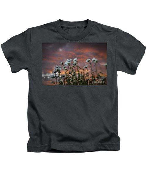Sunset And Daisies Kids T-Shirt